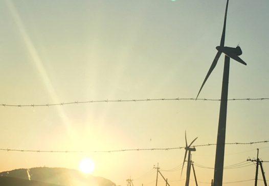 朝日と風車